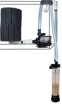 TMC Fluidized Sand Bed Aquarium Filter, connected to pump, sponge